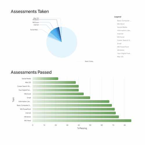 Admin report regarding # of assessments by topic